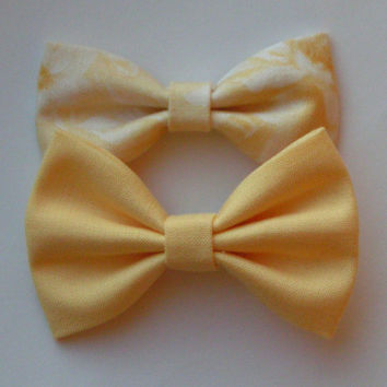 Yellow fabric bow clips, baby bows, Bow clips, small fabric hair bows, Bow