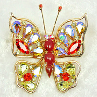 Red and Citrine AB Rhinestone Warner Butterfly Brooch / Vintage / 1960s
