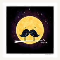 Moonstache Print by ilovedoodle on Etsy