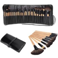 Docooler Wood 32Pcs Makeup Brushes Kit Professional Cosmetic Make Up Set + Pouch Bag Case