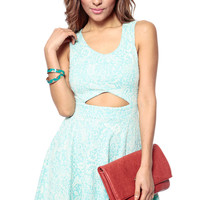 Minty Paisley Embroidered Skater Dress