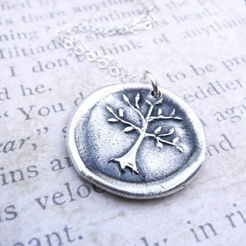 Tree of Life wax seal pendant made from fine silver