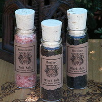 Witches Salt Trio . Pink Himalayan, Bonfire Blend, Black WItches Salt . Pagan WIcca Witchcraft . Culinary . 3 One Ounce Bottles
