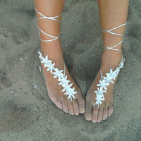 White autumn flowers Beach wedding barefoot sandals, bangle, wedding anklet
