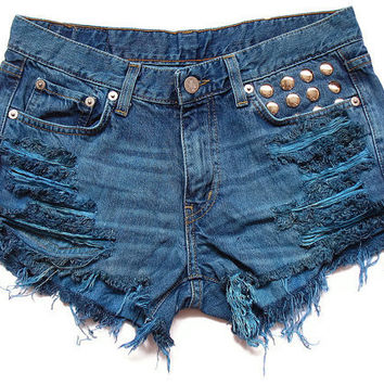 Blue shorts L by deathdiscolovesyou on Etsy