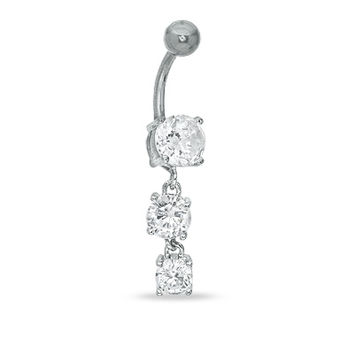 014 Gauge Dangle Belly Button Ring with Three Cubic Zirconia in Stainless Steel - - View All - PAGODA.COM