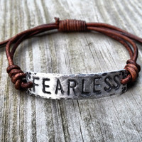 FEARLESS ID Bracelet silver leather Hand Stamped by DESIGNbyANCE