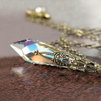 Clear Crystal Necklace Ice Clear Aurora Swarovski Crystal Necklace Antique Gold Icicle Necklace
