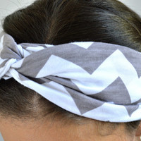 Gray Chevron Turban Head band, Soft Stretch Hairwrap