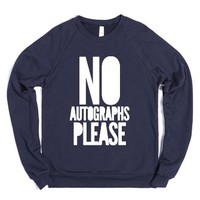 No Autographs Please (crewneck) (white)-Unisex Navy Sweatshirt