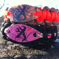 His and Hers Set , Couples Buck Head Valentines Day Gift set, 550 Paracord Bracelet,