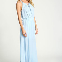 Blue Tied Woven Maxi Dress - LoveCulture
