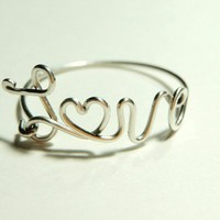 sterling silver 925 love wire hearth  script word love by keoops8