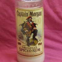 Pure Soy Candle in Reclaimed Captain Morgan Liquor Bottle - Your Choice of Scent