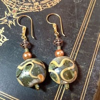 Christmas in July - Gold & Green Lampwork Bead drop earrings - 24Kt gold Vermeil earwires - Bronze, Gold, Moss, Apple, Lime, Brown