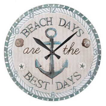 Nautical Best Days Beach Rustic Wall Clock