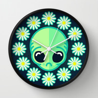 Sad Alien and Daisy Nineties Grunge Pattern Wall Clock by chobopop