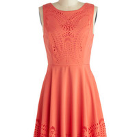 ModCloth Mid-length Sleeveless A-line Invitation Designer Dress in Coral