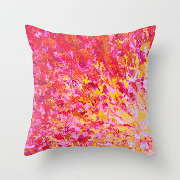 ROMANTIC DAYS - Lovely Sweet Romance, Valentine's Day Sweetheart Pink Red Abstract Acrylic Painting Throw Pillow by EbiEmporium   Society6