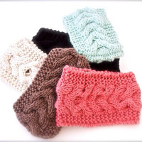 Cable Knitted Headband, Ear Warmer, Fashion Accessory Turband Style - Holiday Gifts For Her- Women's Fashion Hair Accessories - 5 Colors