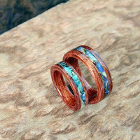 Bubinga Wedding Bands with Abalone inlay Handcrafted Bentwood rings
