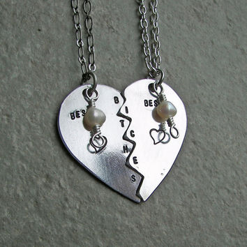 Best Bitches Hand Stamped Necklace set by ChrisClosetCreations