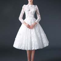 Modest Knee Length Lace Wedding Dress with Flowers   CC3007