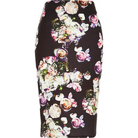 River Island Womens Black jersey floral print pencil skirt