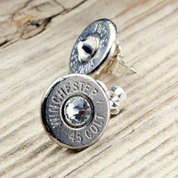 Classy, Dainty Winchester .45 Colt Nickel Bullet Head Stud Earrings with Swarovski Crystals