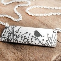 Little bird in the tall grass necklace by lulubugjewelry on Etsy
