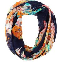 Floral Print Infinity Scarf by Charlotte Russe - Navy