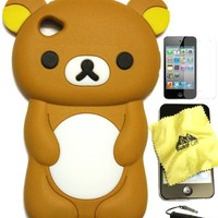 BUKIT CELL ® 3D Bear Cartoon Soft Silicone Case for IPOD TOUCH 4 4G 4TH GENERATION - BROWN [Bundle - 4 items: Case, Bukit Cell Cleaning Cloth, Screen Protector and METALLIC STYLUS Touch Pen with Anti Dust Plug]