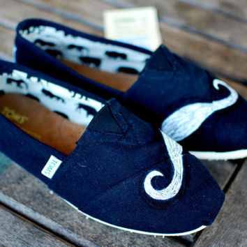 Mustache TOMS Shoes by BStreetShoes on Etsy