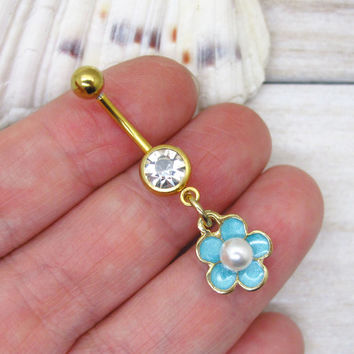 Blue cute pearl flower belly boutton rings, flower belly button ring , flower belly ring ,belly button piercing,unique gift