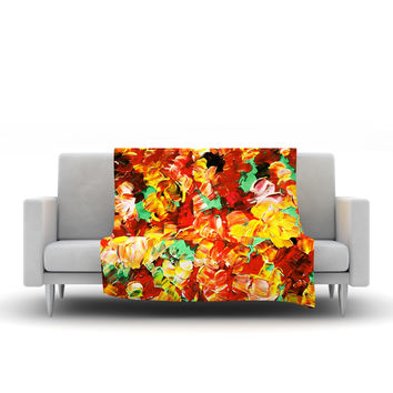 "Ebi Emporium ""Floral Fantasy II"" Orange Yellow Fleece Throw Blanket"