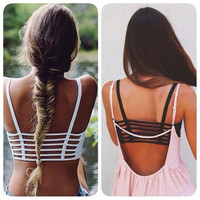 Women Sexy Padded Bra Top Bralette Bralet Caged Back Strappy Web Fashion Must Have