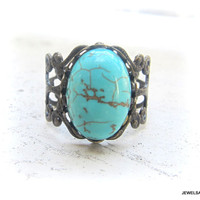 Turquoise Ring Gemstone Lord of the Rings Inspired Blue Ring Antique Brass Filigree Ring Vintage Style LOTR Rustic Statement Stone Ring