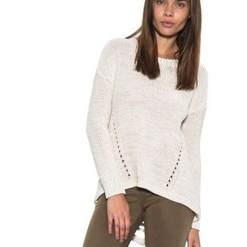 Womens Long Sleeve Blaine Pullover Sweater Ripped Exposed Back Tan