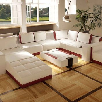 In Stock White Large Contemporary Leather Sofa Sectional - Opulentitems.com