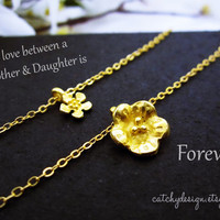 Mother Daughter Necklace Set GOLD-Inspirational Jewelry-Mother Daughter Jewelry set of 2,Simple Delicate necklace set,holiday gift,Christmas