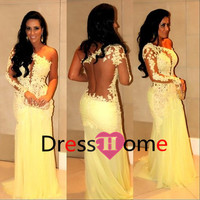 One-Shoulder Lace Backless Sweep Train Mermaid Prom dress Celebrity Dresses party Evening Dresses