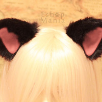 2 ways CAT ears hair CLIP & HEADBAND convertible, Black inner Pink, movable kitty cat ears long fur,Cosplay Costume Dress Up Party Halloween