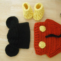 Mickey Mouse Hat , Diaper cover and shoes
