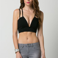 (ams) Deep wired plunge multi straps black top