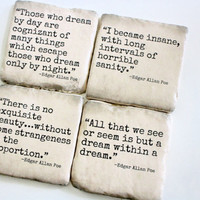 Edgar Allan Poe - Literary Quote Coasters. Perfect Fall/Halloween Decor