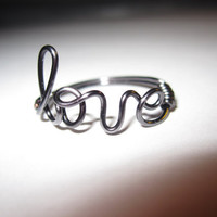 Dark Silver Love Ring Wire Wrapped by aLilJazzJewelry on Etsy