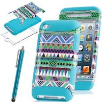 Pandamimi ULAK 3-Piece Blue Hybrid High Impact Case Tribal pattern Blue Silicone For Apple iPod Touch Generation 4 with Free Stylus