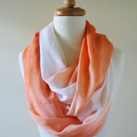 Infinity Scarf Orange and White Ombre, Peach, Modern, Lightweight, Summer Scarf, Spring, Wrap Scarf