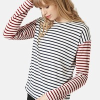 Women's Topshop Mixed Stripe Long Sleeve Top,