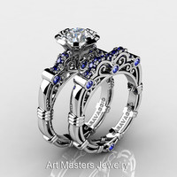 Art Masters Caravaggio 10K White Gold 1.0 Ct White and Blue Sapphire Engagement Ring Wedding Band Set R623S-10KWGBSWS